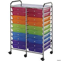 Bluee Hills Studio Double Storage Cart W/20 Drawers, Multicolor-25.5