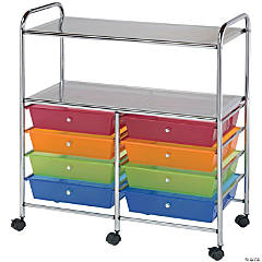 Bluee Hills Studio Double Storage Cart W/8 Drawers, Smoke- 13