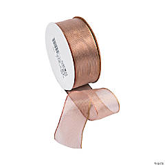 Blush Wired Metallic Sheer Ribbon - 1 1/2