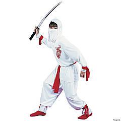 Boy's Deluxe White Ninja Dragon Costume