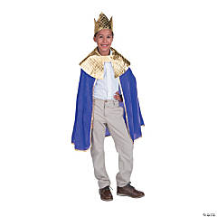 Boy's Purple Wise Man's Cape with Crown Costume