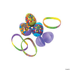 Bracelet-Filled Religious Stained Glass Plastic Easter Eggs - 12 Pc.