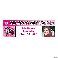 Breast Cancer Awareness Superhero Custom Photo Banner
