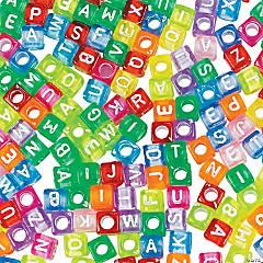 Bright Alphabet Cube Beads