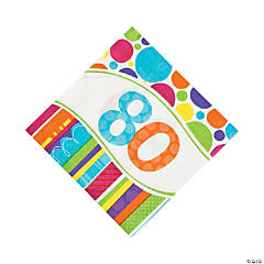 Bright & Bold 80th Birthday Luncheon Napkins