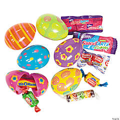 Bright Candy-Filled Printed Plastic Easter Eggs - 24 Pc.