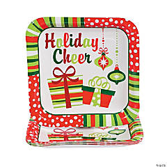 Bright Christmas Paper Dinner Plates