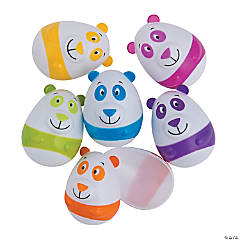 Bright Color Panda Plastic Easter Eggs - 12 Pc.