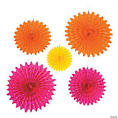 Bright Fiesta Party Tissue Fans