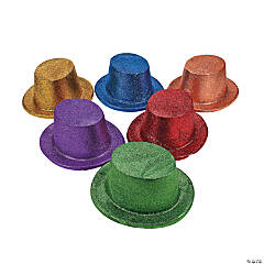 Bright Glitter Top Hats Assortment