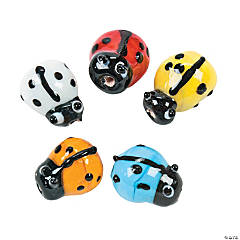 Bright Ladybug Lampwork Glass Beads - 8mm x 11mm