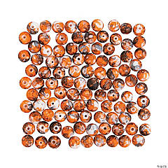Bright Orange & Brown Tie-Dyed Beads - 10mm