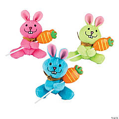 Bright Plush Easter Bunnies with Candy