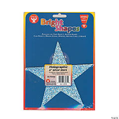 Bright Shape Cut Outs - Holographic Silver Stars