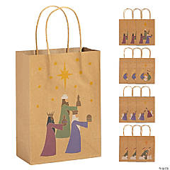 Brown Nativity Paper Gift Bags