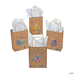 Brown Paper Easter Bunny & Eggs Gift Bags