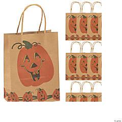 Brown Paper Jack-O'-Lantern Gift Bags