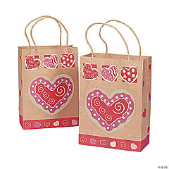 Brown Paper Valentine Gift Bags with Heart
