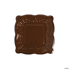 Brown Scalloped Edge Paper Dessert Plates