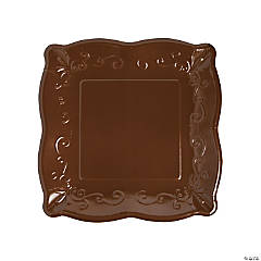 Brown Scalloped Edge Paper Dinner Plates