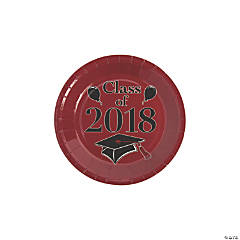 Burgundy Class of 2018 Grad Party Dessert Paper Plates