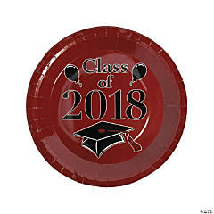 Burgundy Class of 2018 Grad Party Dinner Paper Plates