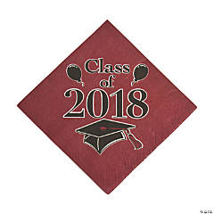 Burgundy Class of 2018 Grad Party Luncheon Napkins
