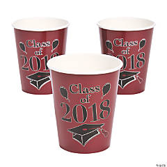 Burgundy Class of 2018 Grad Party Paper Cups