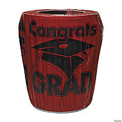 Burgundy Congrats Grad Graduation Plastic Trash Can Cover