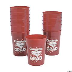 Burgundy Congrats Grad Plastic Cups