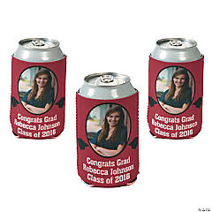 Burgundy Graduation Custom Photo Can Covers