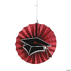 Burgundy Graduation Hanging Fans with Icons