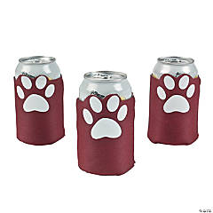 Burgundy Paw Print Can Covers
