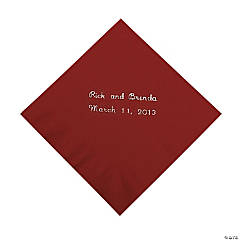 Burgundy Personalized Beverage Napkins with Silver Print