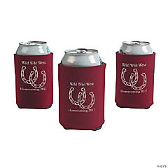 Burgundy Personalized Horseshoe Can Coolers