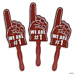 Burgundy We're #1 Finger Hand Fans
