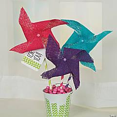Burlap Pinwheels in Pail Idea