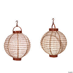 Burlap Print Light-Up Hanging Paper Lanterns
