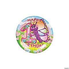 Butterfly 1st Birthday Paper Dessert Plates