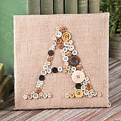 Buttons & Burlap Monogram Canvas Décor Idea
