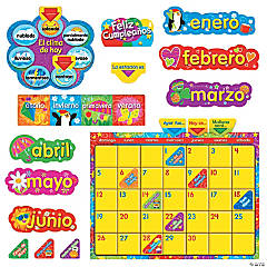 Calendario Wipe-Off® con Estrellas y Remolinos (SP) Bulletin Board Set
