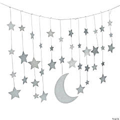 Camp Glam Glitter Moon & Stars Garland