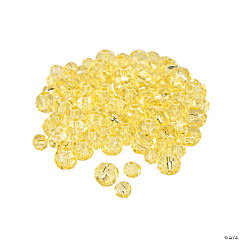 Canary Yellow Cut Crystal Round Beads - 4mm-6mm