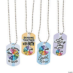 Cancer Awareness Faith Dog Tag Necklaces