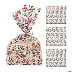 Candy Cane Cellophane Bags