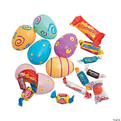 Candy-Filled Pastel Printed Plastic Easter Eggs - 24 Pc.