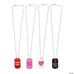Candy Heart Dog Tag Necklaces