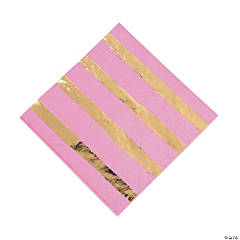Candy Pink & Gold Foil Striped Luncheon Paper Napkins