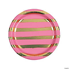 Candy Pink \u0026 Gold Foil Striped Paper Dinner Paper Plates  sc 1 st  Oriental Trading & Pink Plates: Pink Party Plates Pink Paper Plates Hot Pink Plates