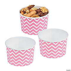 Candy Pink Chevron Snack Paper Bowls